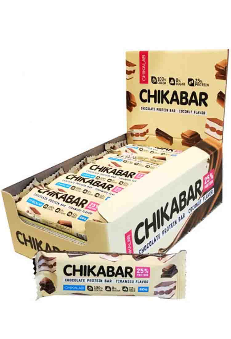 Протеиновые батончики BombBar CHIKALAB Батончик протеиновый с начинкой 60 гр. хрустящее печенье